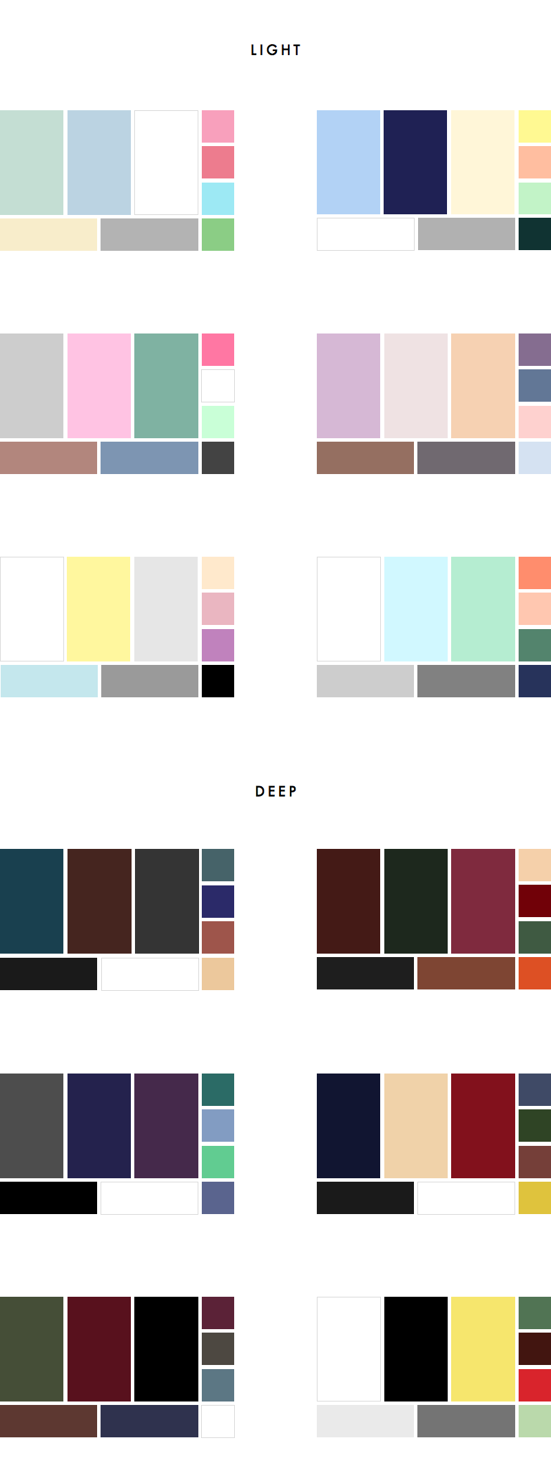 36 Colour Palettes for your Wardrobe Part III: Light vs Deep