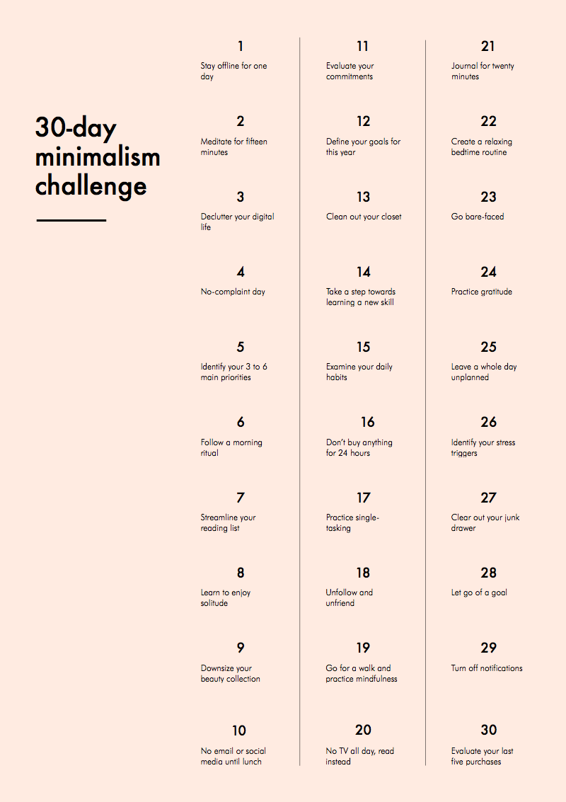 30 day minimalism challenge anuschka rees for Minimalist writing