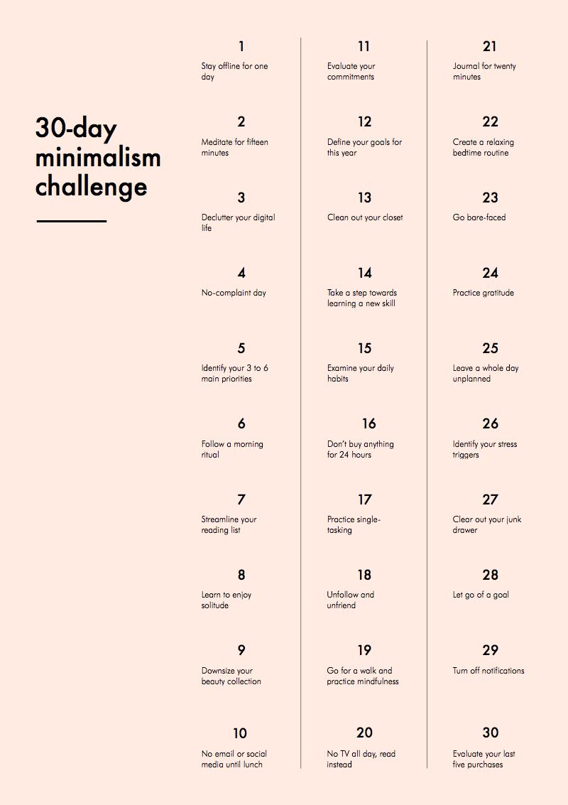 30 Day Minimalism Challenge
