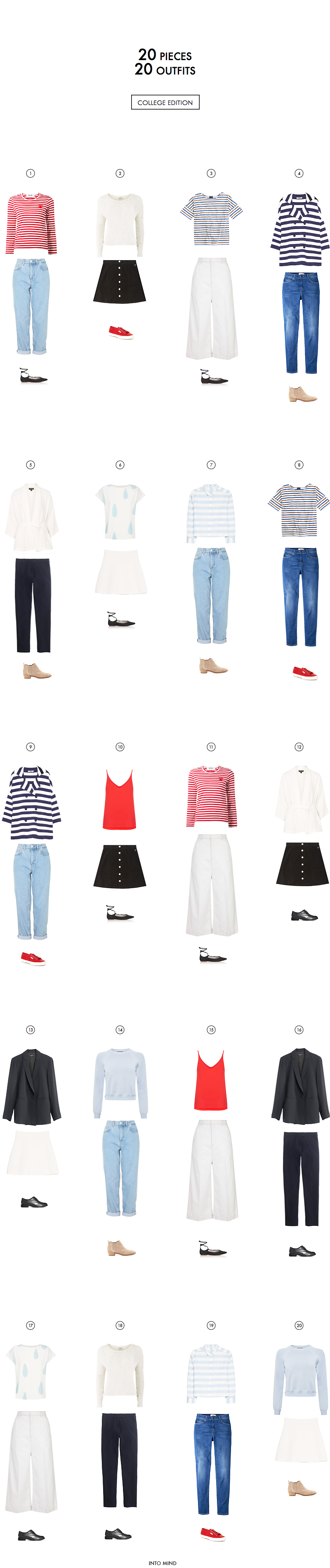 College Capsule Wardrobe: 20 outfits with 20 pieces