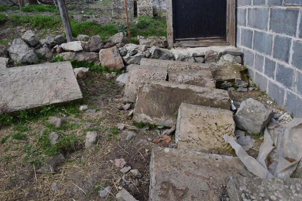 Unused stones in the mosque's backyard.