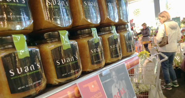 Suan's jams and preserves are on display inside a Whole Foods in Oklahoma City. (Photo by Brent Fuchs)