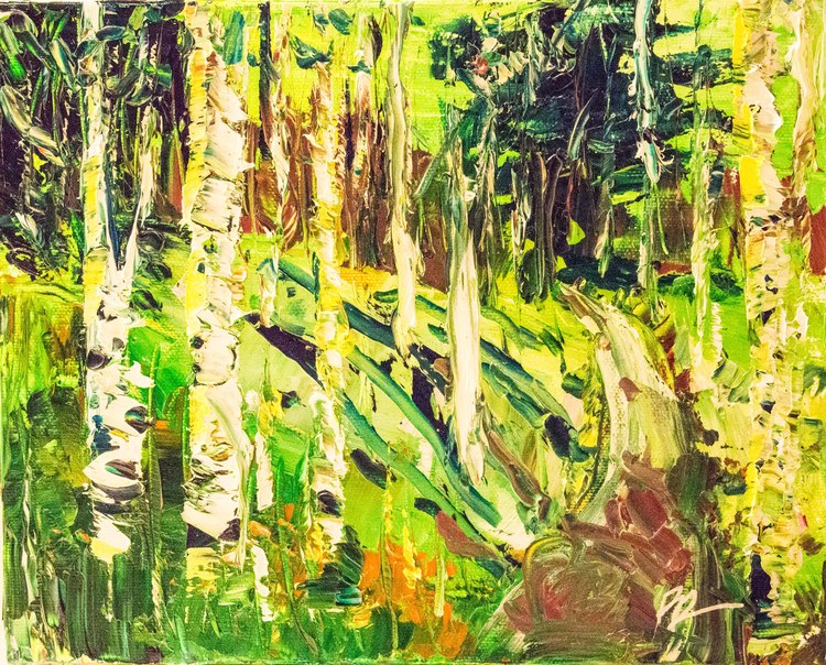 "one of her paintings...this one is called ""Green Aspens"""