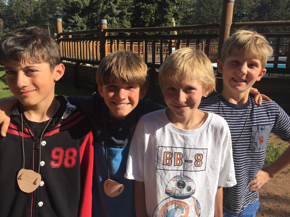 Beau, Spencer, Ari and Braden getting ready for some fun at Camp Elim!