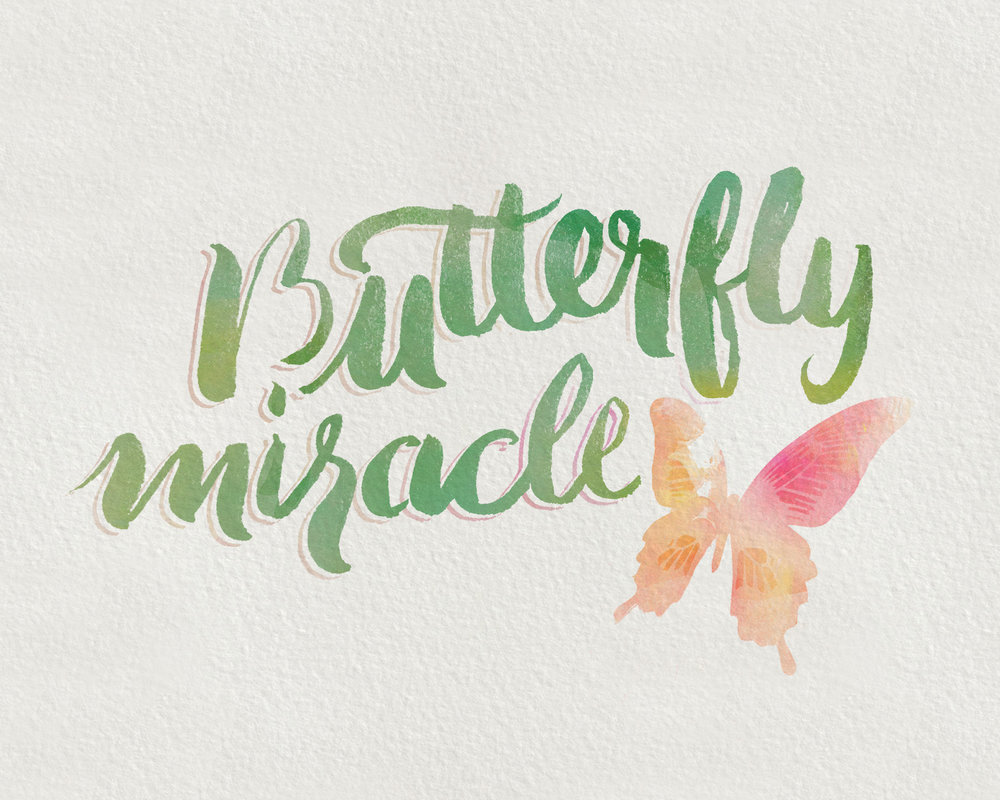 From  Holly's post detailing God's attention to detail  in the wake of her mother's stroke, this brush handlettering attempts to capture the journey we can all experience when we allow God to carry us as if on the wings of one of the most delicate of creatures.