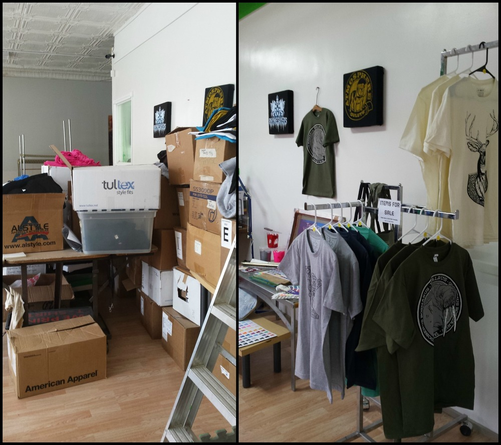 STORE FRONT BEFORE (USED AS STORAGE AREA) AND AFTER (ACTUALLY FOR CUSTOMERS!)