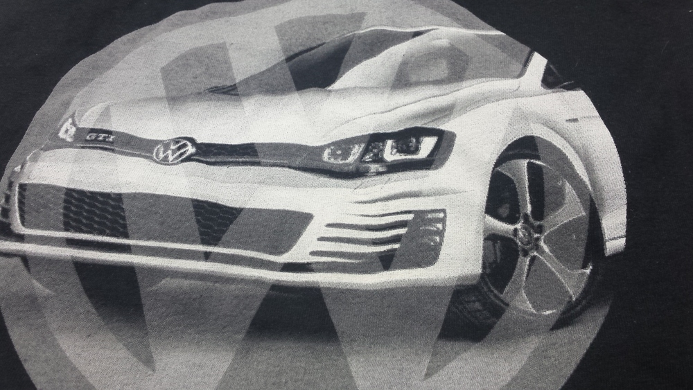 Final GTI VW print done by Twin City Tees in discharge ink.