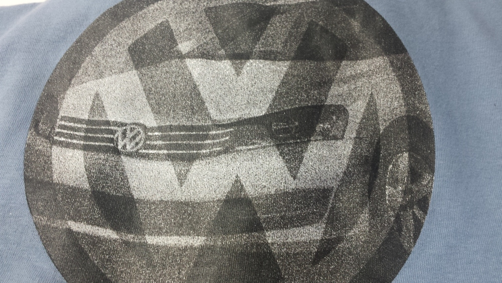 Previous screen printer's work of the VW Jetta.