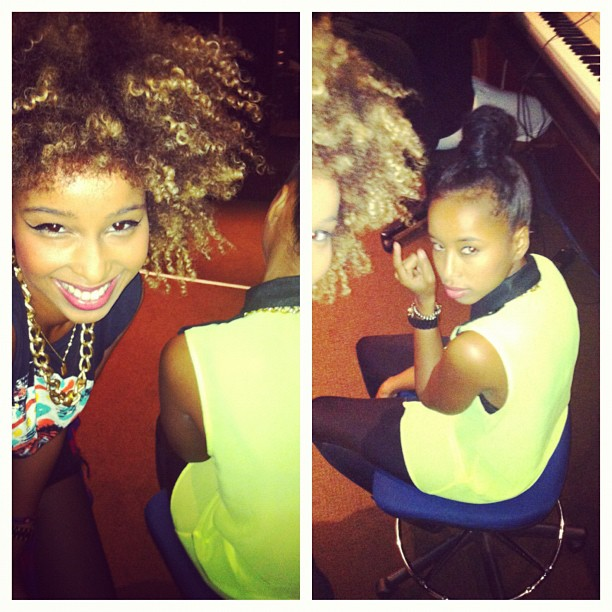 In the studio… As you can see Iman is feeling much better.. LoL 👯😜 (Taken with  Instagram )