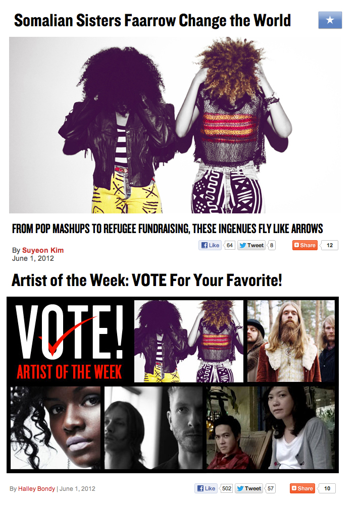 Check out our feature on MTV IGGY!       http://www.mtviggy.com/articles/somalian-sisters-faarow-change-the-world/      You can also VOTE for us to be ARTIST OF THE WEEK! The poll is open until Friday!! Vote for us as many times as you can Lol ;-) Here is the Link:  http://www.mtviggy.com/blog-posts/artist-of-the-week-vote-for-your-favorite-69/