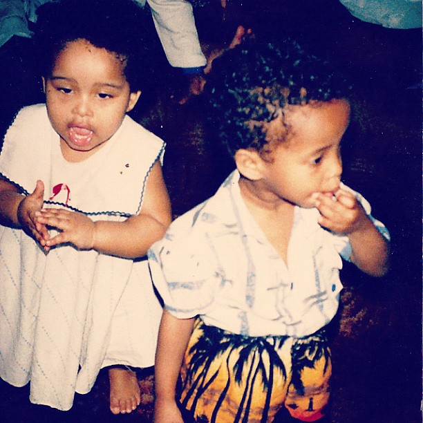 #ThrowbackThursdays Baby FAARROW … Siham is wearing the awesome tropical shorts… And yes she's been stylish since birth… Lol 😜…. As for me. I'm pretty cute and chubby in my dress… LOL #Babypics #Backintheday (Taken with  Instagram )