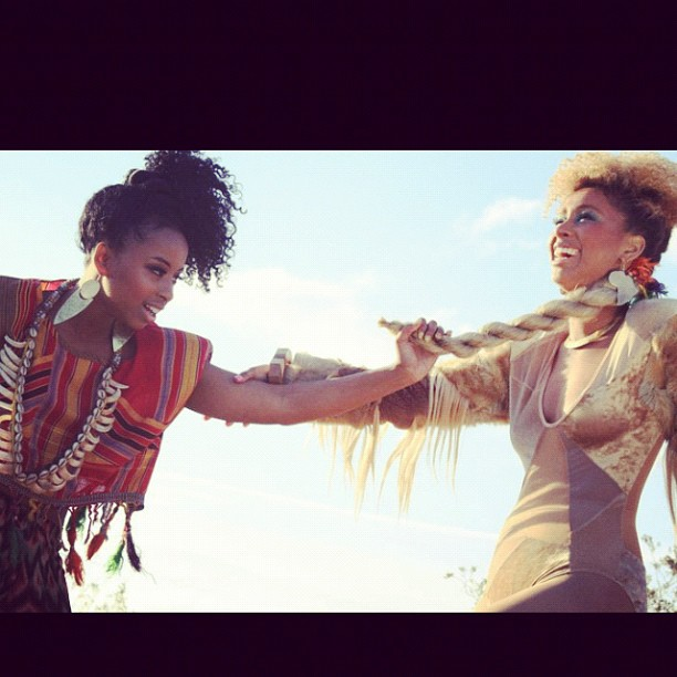 In the Desert.. Found a little AFrica in L.A 😜☺ #Africa #Tribal #faarrow #curlyhair #Duo #Somalia #Photoshoot  (Taken with  Instagram )