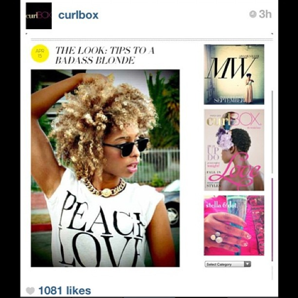 "Thanx for the feature @Curlbox ""Tips to a Badass Blonde"" ✌😚👑"