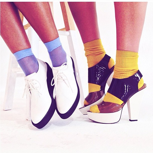 #repost @aleherself .. Shoes from our last look 💙💛 #marni #philliplim
