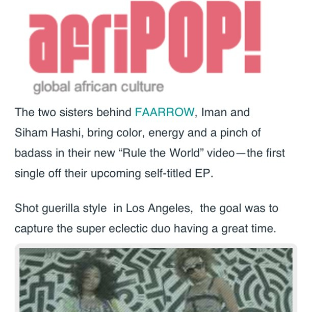 Thank you @afripopmag for the love ❤❤ #faarrow #ruletheworld #afripop http://afripopmag.com/2013/05/get-to-know-somali-canadian-singing-duo-faarrow-watch-their-new-video/