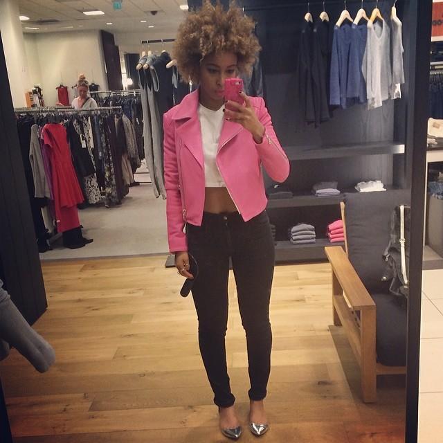 Isn't this #Pinkleatherjacket PERF?? #jbrand #faarrow @jbrandjeans XS thanks 💋 lol