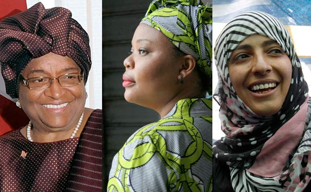 melodyannjones: The Nobel Peace Prize 2011 was awarded jointly to three champions of women's rights from Africa and the Arab world on Friday: Ellen Johnson Sirleaf, Leymah Gbowee and Tawakkul Karman. The women were rewarded for their non-violent struggle for the safety of women and for women's rights to full participation in peace-building work. Ellen Johnson Sirleafis, of Liberia, is Africa's first democratically elected female president. Since her inauguration in 2006, she has pushed forward with peace efforts in Liberia based on promoting economic and social development led in part by women. Leymah Gbowee mobilized women across divided ethnic and religious lines to bring an end to the long war in Liberia, and to ensure that women were allowed to participate in elections. She has since worked to enhance the influence of women since the end of the Second Liberian Civil War in 2003. Tawakkul Karman has played a leading part in the struggle for women's right, democracy, and peace in Yemen.
