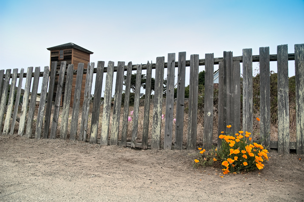 """Water Tower with Fence and Flowers"", Mendocino, CA, 2004"