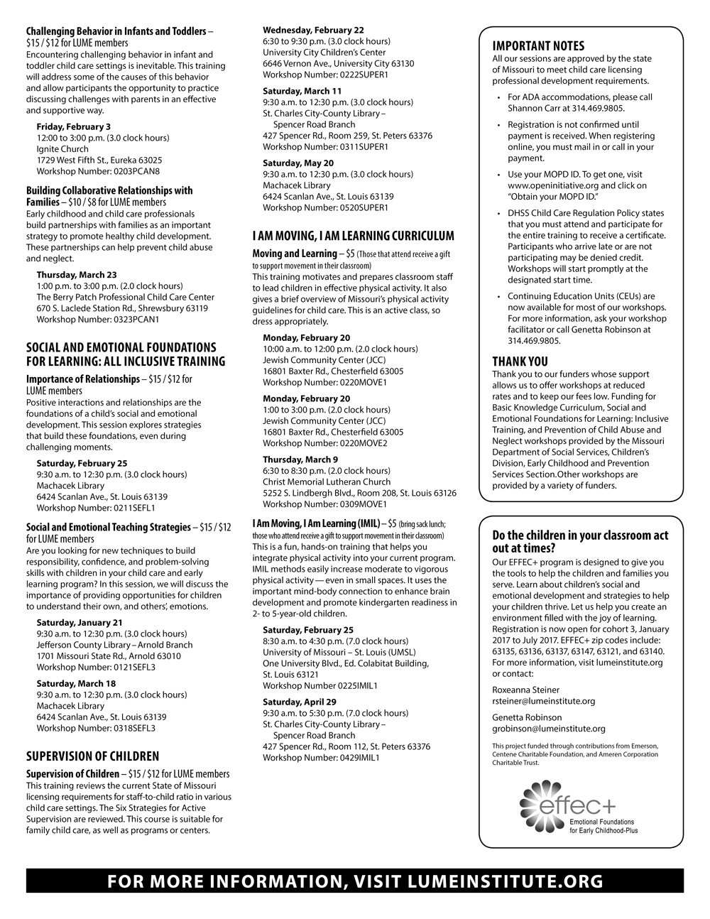 Upcoming early childhood workshops lume institute and neglect workshops provided by the missouri department of social services childrens division early childhood and prevention services section 1betcityfo Images