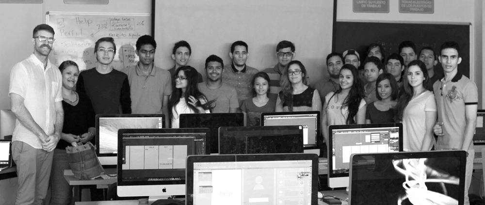 Proud designer with his class of up-and-coming design students!