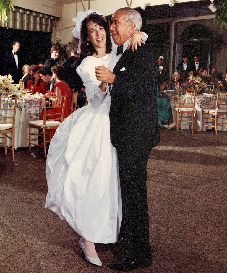 Lisa Birnbach and her father, Maks L. Birnbach, on her wedding day, Sept. 13, 1987    CREDIT FRED MARCUS STUDIO