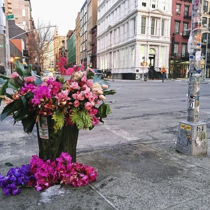 Flower Flash, - Florist Lewis Miller's way of sprucing up NYC.