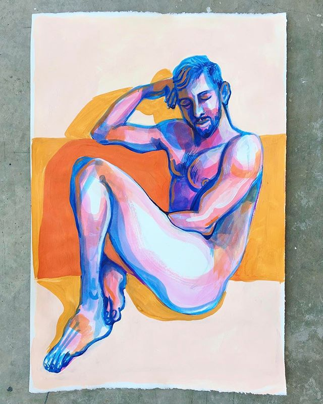 🖌🎨: @michaeljhildebrand ❤️💛💙💜❤️💛💙💜 #gay #gayart #gayartist #queerart #artmodel #malenude #homoerotic #malemodel #gayfit #instagay #gaystagram #gayboy #gayjock #gaylove #gayscruff #gaybeard #gayartisg #artisticnude #painting #painter #paint