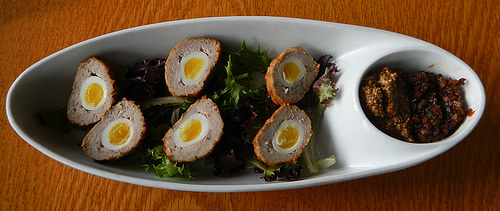 six mile pub quails egg with sausage.jpg