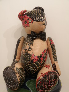 Nao Nakamura, Spunky, mixed media on leather, $3,000.jpg