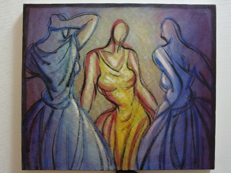 yuji  three girls. 46 x 53 canvas 3500 2017JPG.JPG