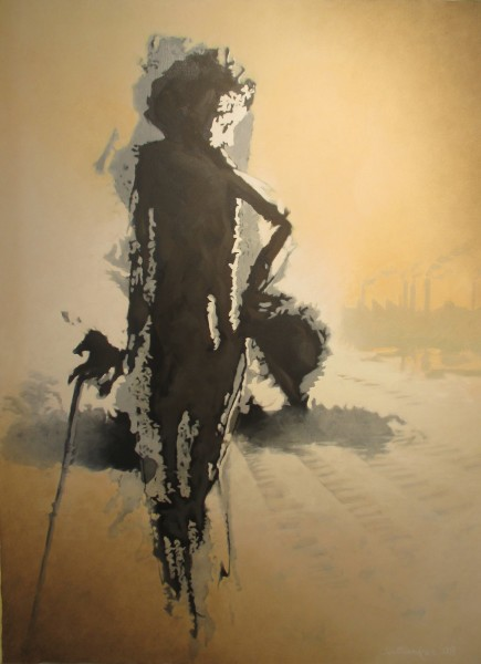 Tirthankar Biswas, The Tramp, 48x36in, Acrylic on Canvas, $3,500.jpg