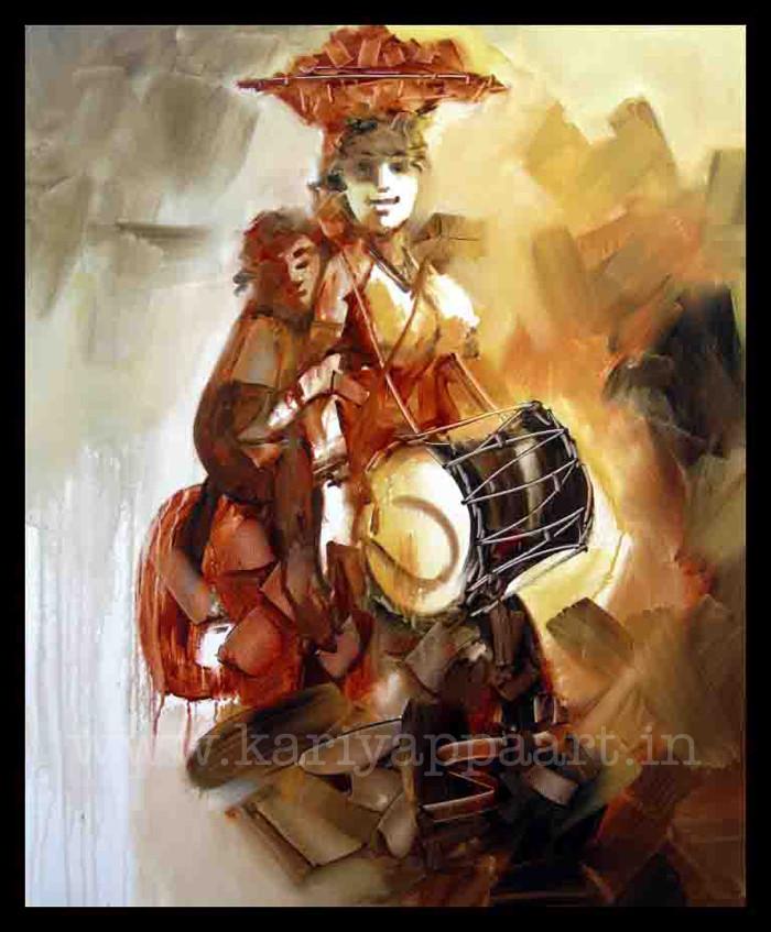 Kariyappa Hanchihamani, Folk Musician, 40 x 30 in., acrylic on canvas, 2013, $4,000.jpg