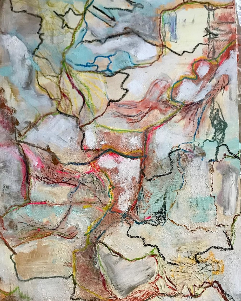 Brigid McGivern, 2018, _Childhood Cracks_, acrylic and pastel on panel, 24x36. $3500jpg.jpg