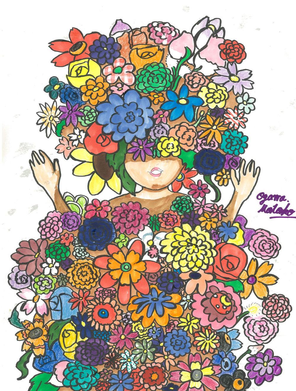 "MOTOKO OGAWA ""bloom after rain"" 29 x 42cm Colored pencil, pen on paper 2013.jpg"