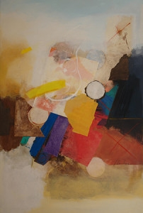 Fernando Pomolaza, Sunday morning, 72 x 48 in., mixed media collage on canvas, $9,000.jpg