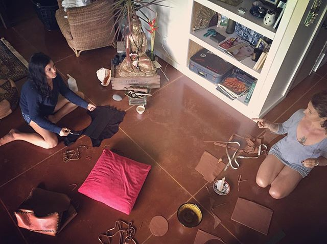 Tea , collaboration , Buddha vibes, lots of love ...gscout in action  #OM #hawaii  #leather  #matcha #cheyennejagger  #morroco  #love #maui  @cheyennejagger  @coyotemoccasins @sammyj1