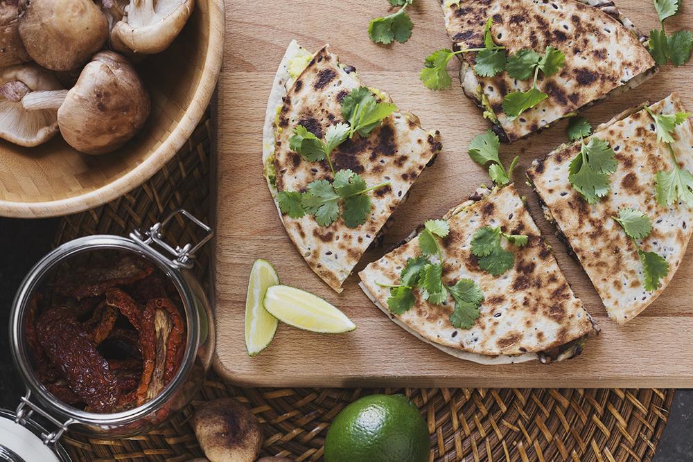 Healthy Vegan Black Bean & Avocado Quesadillas with Grilled Shiitake
