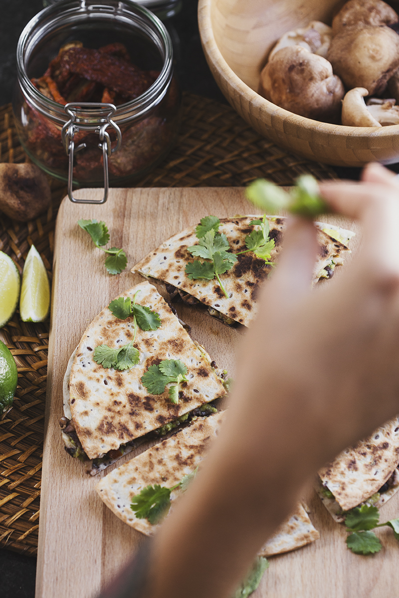 Healthy Vegan Black Bean & Avocado Quesadillas with Grilled Shiitake