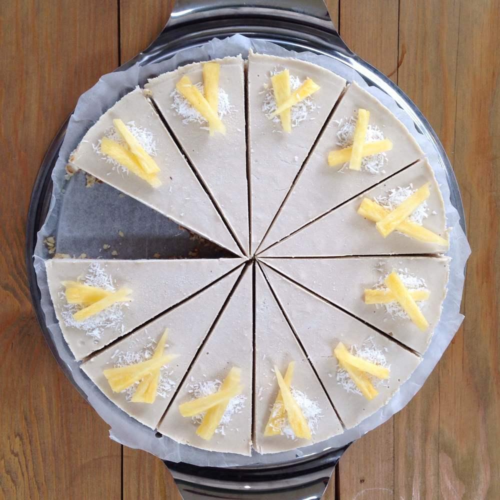 Healthy Raw Vegan Piña Colada Cheesecake