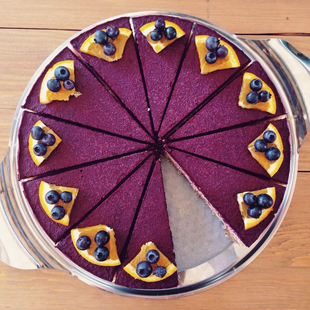 Healthy Raw Vegan Orange & Blueberry Cheesecake