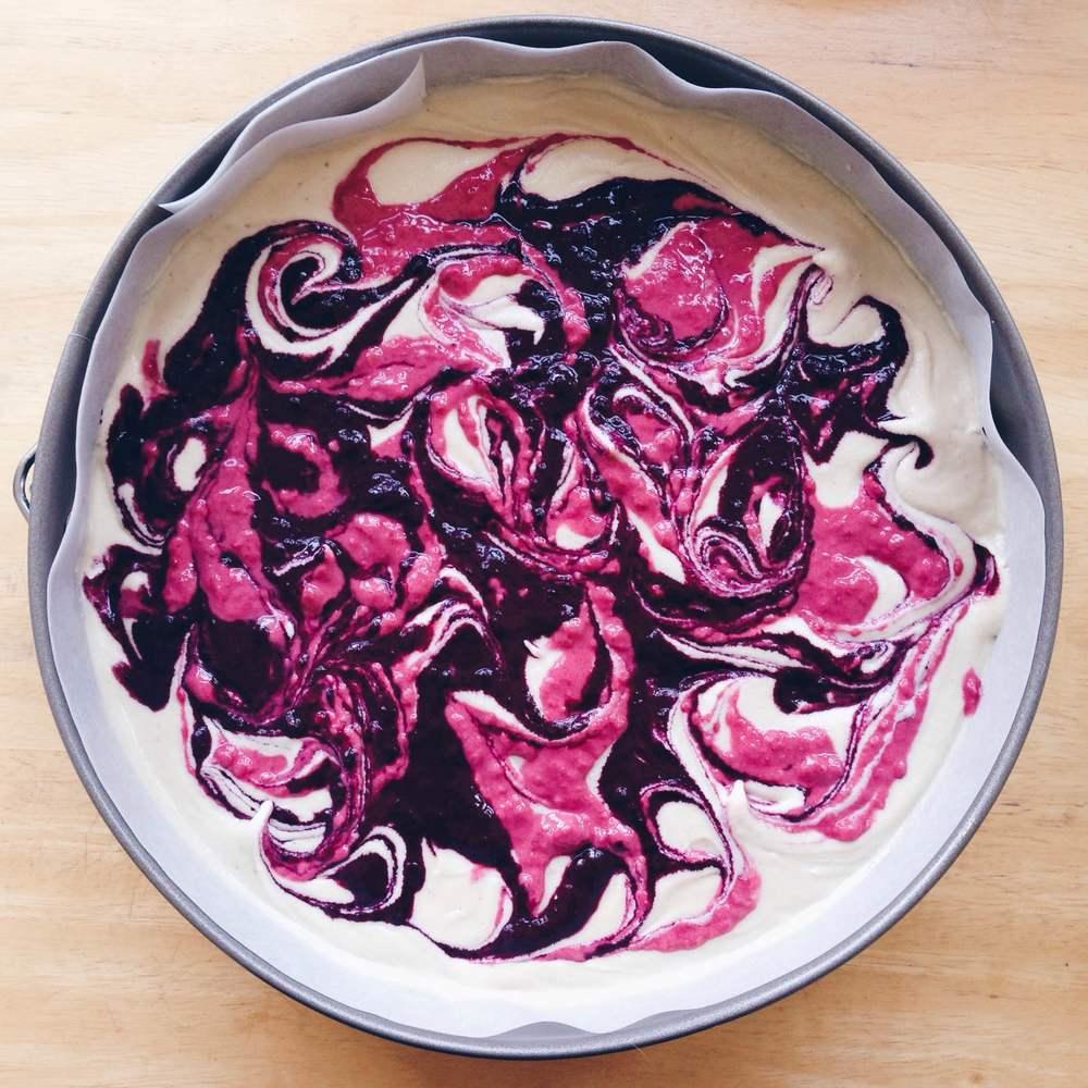 Healthy Raw Vegan White Chocolate & Berry Swirl Cheesecake
