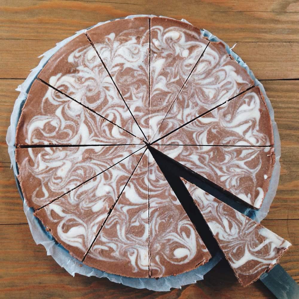 Healthy Raw Vegan Chocolate & Vanilla Swirl Cheesecake