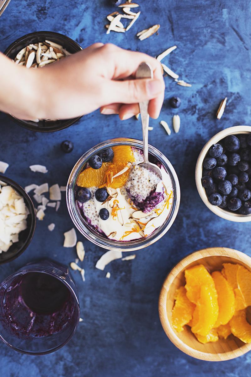 Healthy Vegan Orange, Baobab & Blueberry Chia   Pudding