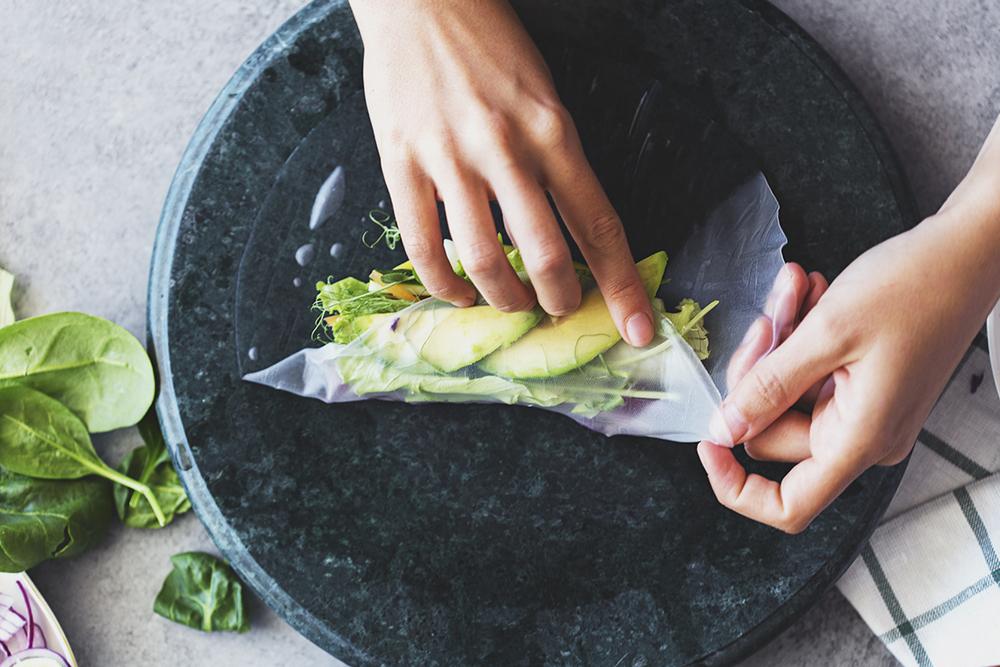 Vegan Recipe for Rainbow Spring Rolls with Mango, Basil & Lime Tahini Cream