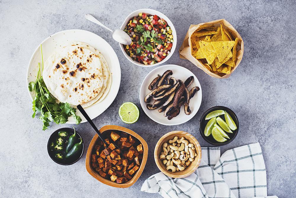 Receita Vegan e Saudável de Tacos de Batata Doce & Cogumelos Portobellos Grelhados