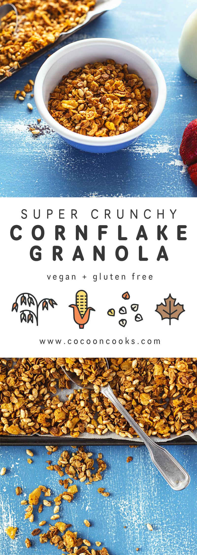 Rceita de Granola Super Crocante. Requer apenas 10 ingredientes e 20 minutos, e é 100% vegan, sem gluten nem frutos secos.