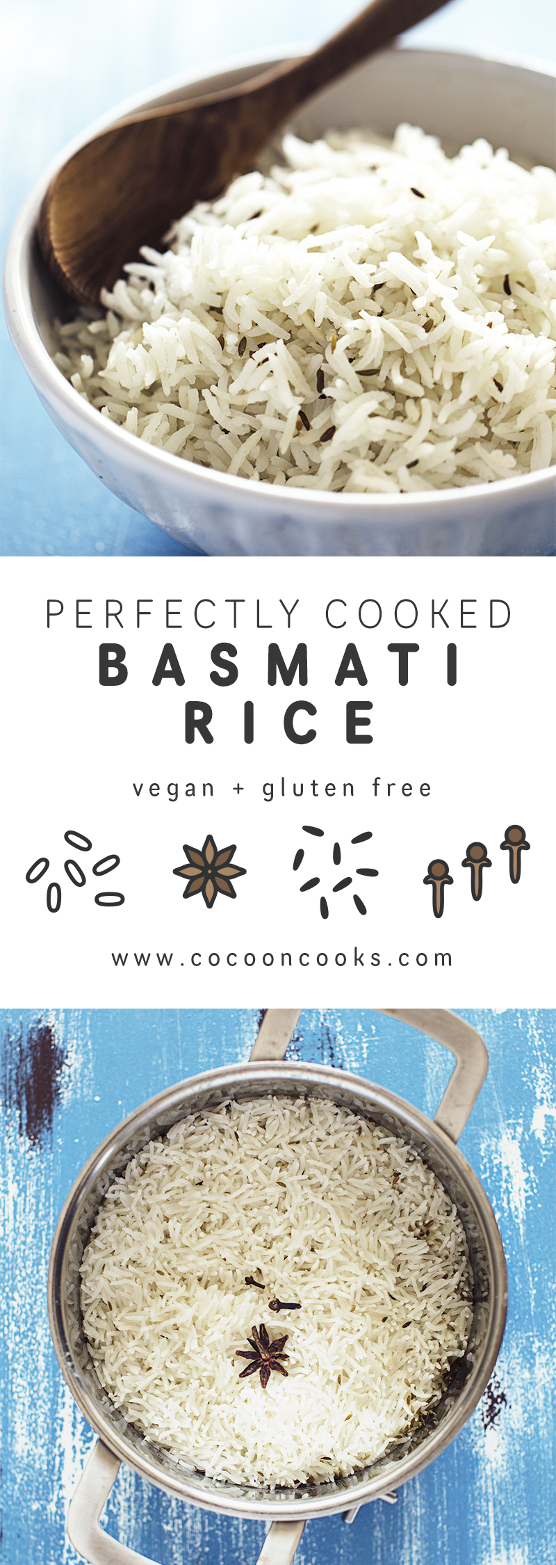 Learn how to cook the perfect Basmati Rice in just 15 minutes. This recipe is vegan and oil-free.