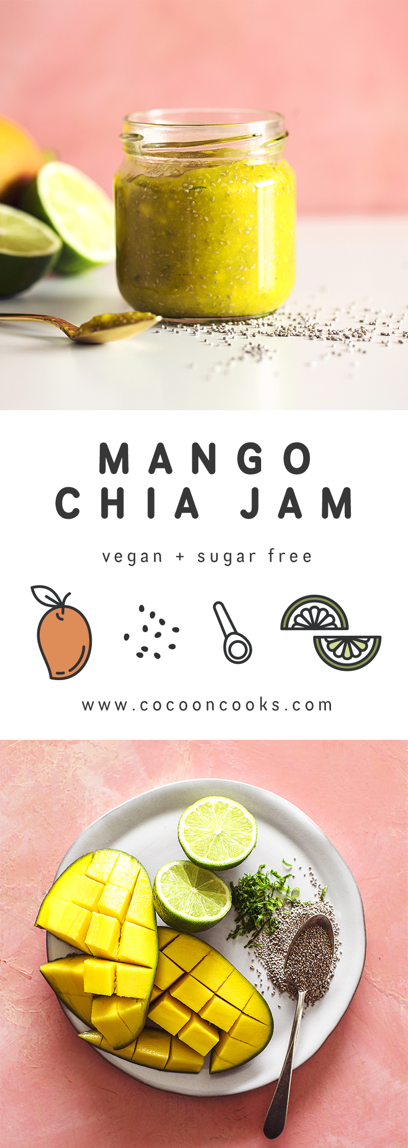 Quick and easy recipe for a Mango Chia Jam, completely plant-based and sugar free.