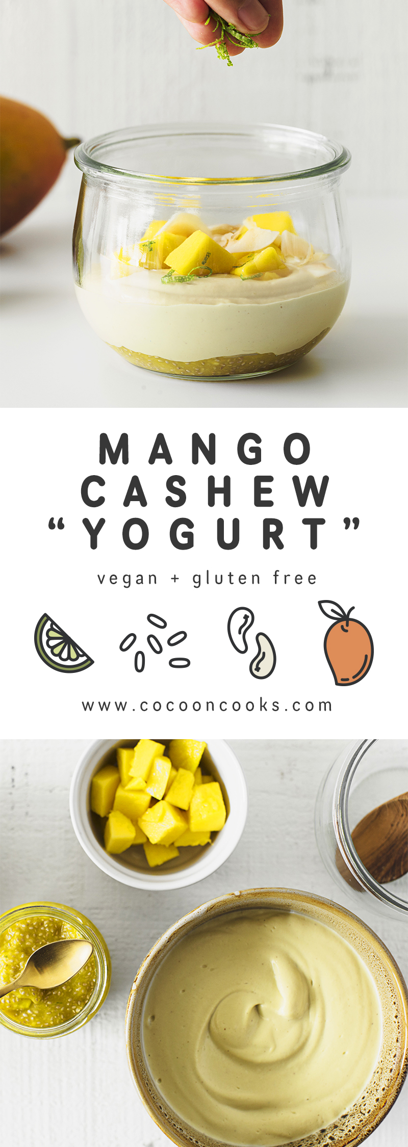 Vegan Mango Cashew Yogurt, the perfect option for a healthy summer breakfast. This recipe is 100% plant-based, delicious and very easy to make.