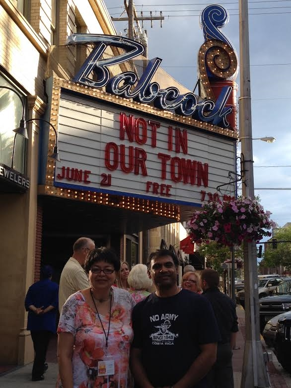 Retired Unit 5 educator Camille Taylor and Bloomington Human Relations Commissioner Suresh Krishna visit the birthplace of the Not In Our Town movement, Billings, Montana.
